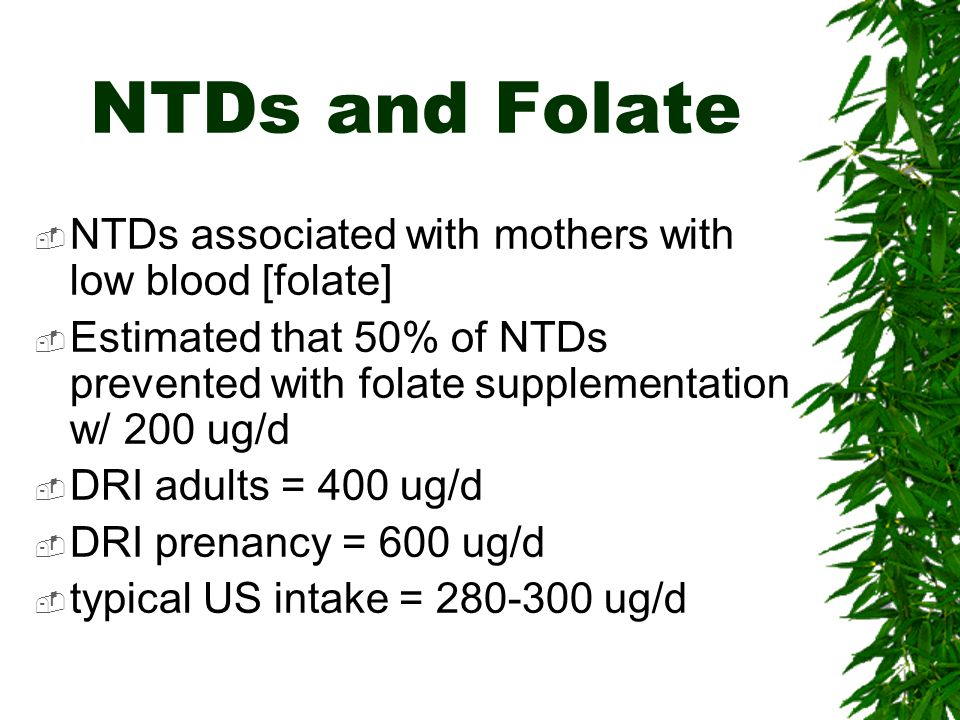 NTDs and Folate NTDs associated with mothers with low blood [folate]